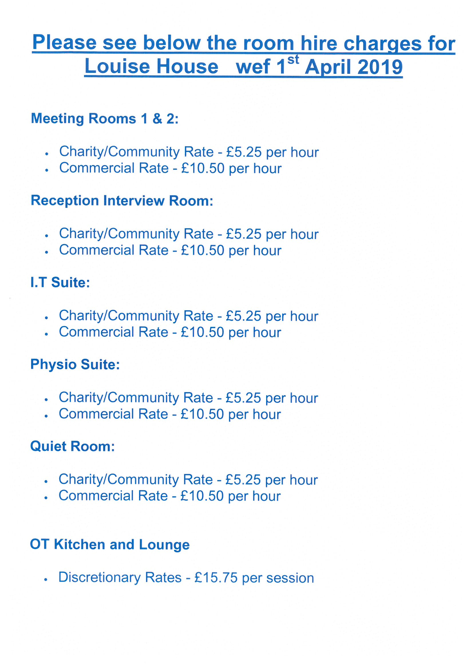 LH Room Hire Charges